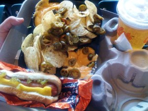 Hot Dog, Nachos and a Bud
