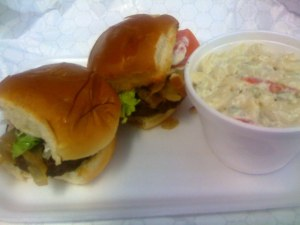 Mini Burgers with Macaroni Salad - $3.89