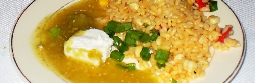 Roasted Corn Orzo with a Ginger Infused Tomatillo Sauce and Goat Cheese
